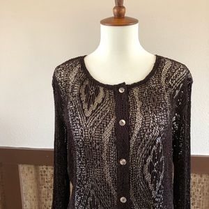 Coldwater Creek Tops - OS: Lace Crochet Cardigan Top by Coldwater Creek